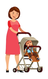 Mom with the baby in the pram stroller in flat style