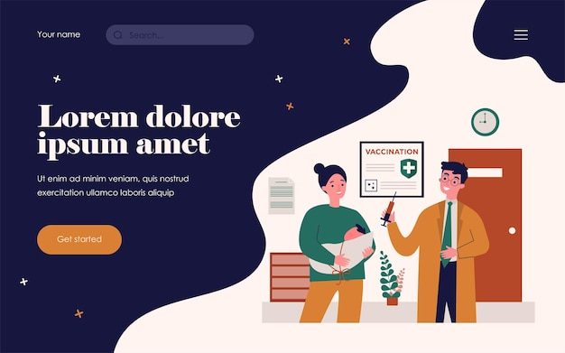 Mom with baby visiting doctor for vaccination. pediatrician, hospital, covid poster flat vector illustration. coronavirus prevention, healthcare concept for banner, website design or landing web page