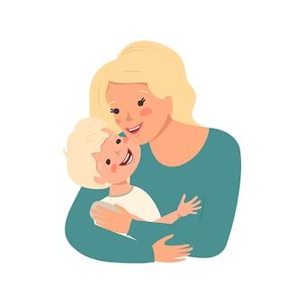 금발 머리를 가진 엄마는 그녀의 아들을 껴안고 해피 어머니의 날 어린이 보호의 날 여자가 소년을 돌본다