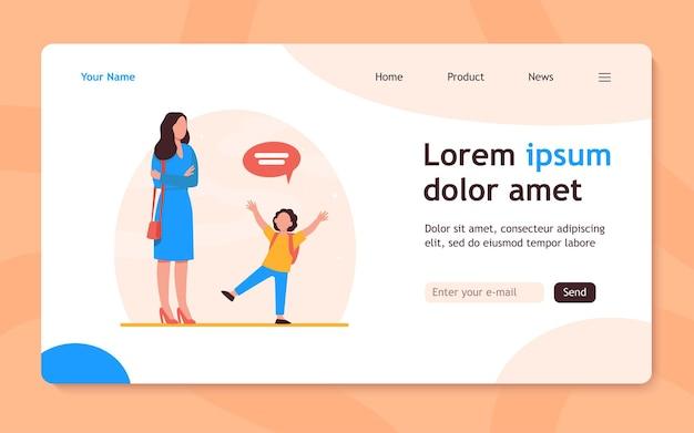 Мама со сложенными руками слушает малыша. ребенок, речевой пузырь, разговорная плоская целевая страница. концепция коммуникации и отцовства для баннера, веб-дизайна или целевой веб-страницы