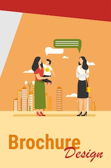 Mom with son meeting with female friend outdoors. talking, speech bubble, walk in city flat vector illustration. motherhood, communication concept for banner, website design or landing web page