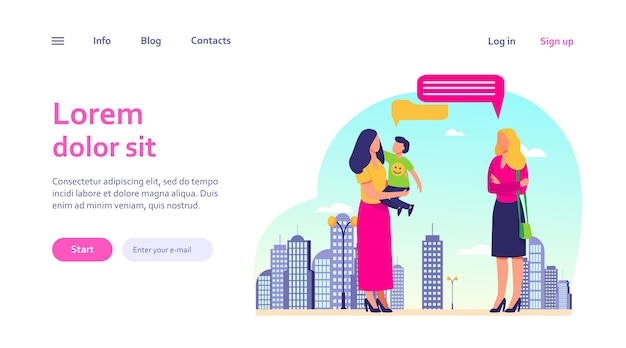Mom with son meeting with female friend outdoors. talking, speech bubble, walk in city. motherhood, communication concept for website design or landing web page