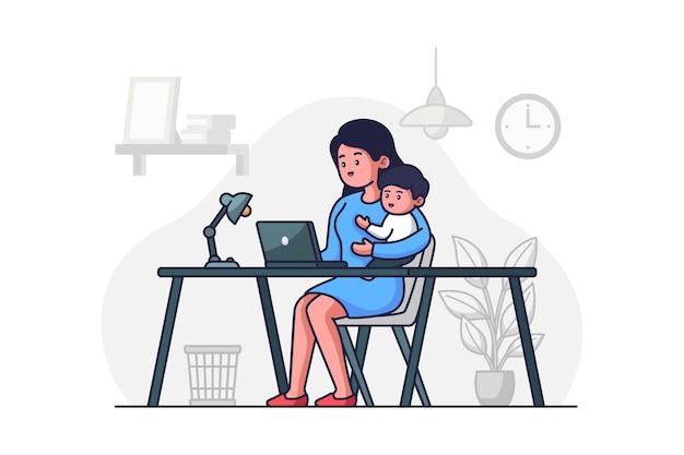 赤ちゃんと一緒に働くお母さん