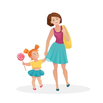 Mom and young daughter walking