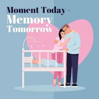 今日の瞬間、明日の思い出のソーシャルメディアはモックアップを投稿します。広告ウェブバナーデザインテンプレート。親子関係のソーシャルメディアブースター、コンテンツレイアウト。プロモーションポスター、フラットなイラスト付きの印刷広告