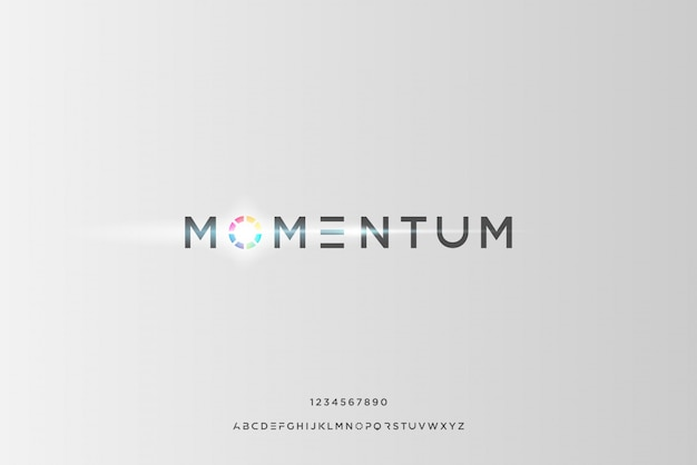 Momentum, an abstract futuristic alphabet font with technology theme. modern minimalist typography design
