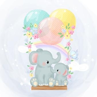 ママとゾウの赤ちゃん