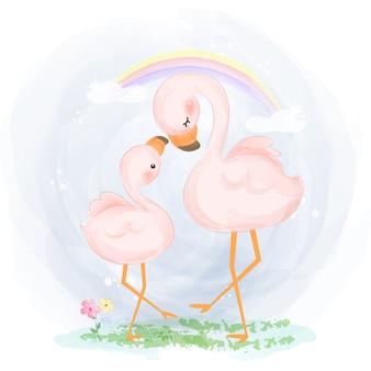 ママと赤ちゃんのフラミンゴのイラスト