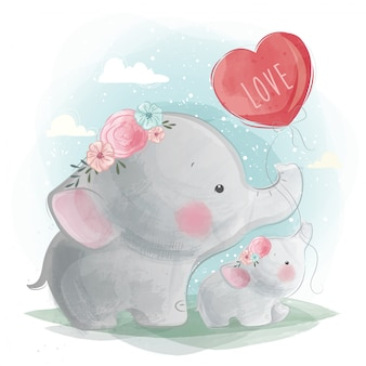 Mommy and baby elephant holding a balloon