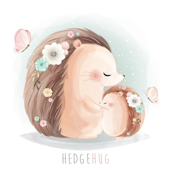 Mommy and baby hedgehog hugging together