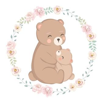 Мама медведь и медвежонок