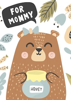 For mommy greeting card with a cute baby bear