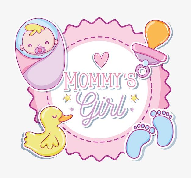 Mommysの女の子の漫画ベクトルイラストグラフィックデザイン