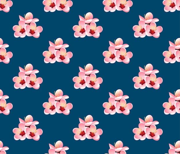 Momo peach flower blossom on indigo blue background