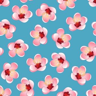 파란색 배경에 모모 복숭아 꽃 꽃
