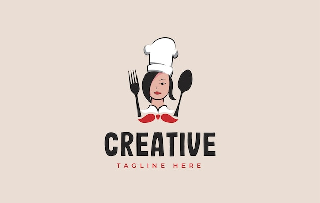Moms cooking logo design inspiration vector illustration of mother chef with spoon and fork