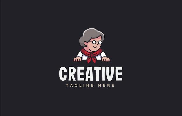 メガネと首に赤い布を身に着けているおばあちゃんのママのロゴデザインのインスピレーションベクトル
