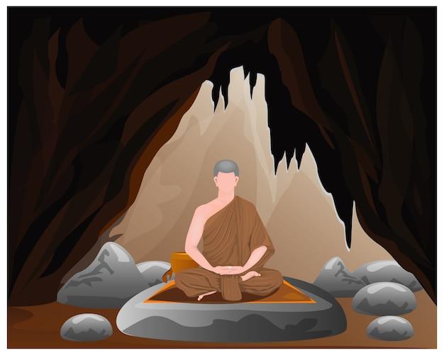 洞窟で一人の僧mon瞑想