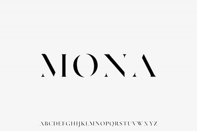 Mona, the luxury font alphabet vector set