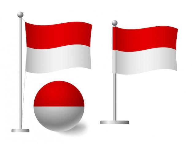 Флаг монако на полюсе и значке мяча