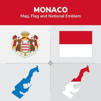 Монако карта, флаг и национальный герб