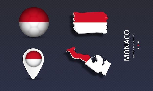 Monaco national country wave flag set