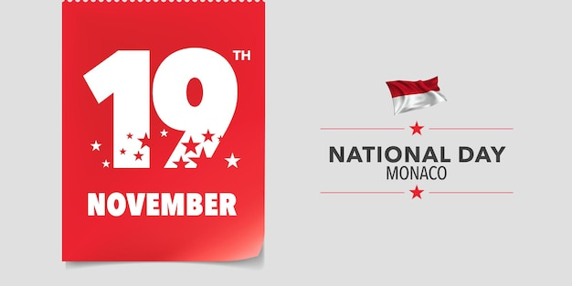 Monaco national day greeting card, banner, vector illustration. monacan 19th of november background with elements of flag in a creative horizontal design