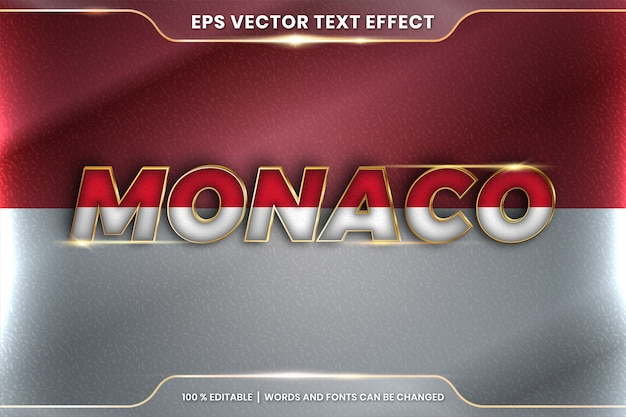 Monaco with its national country flag, editable text effect style with gradient gold color concept
