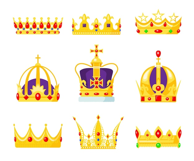 Monarch crown set. king or queens jewelry, royal authority symbol, gold jewel for prince and princess.