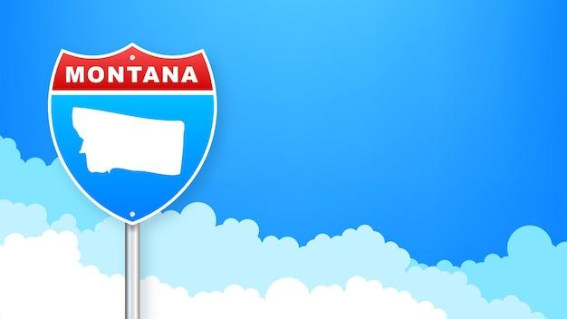 道路標識のモナタナ地図。モナタナ州へようこそ。ベクトルイラスト。
