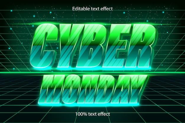 Понедельник редактируемый текстовый эффект ретро в современном стиле