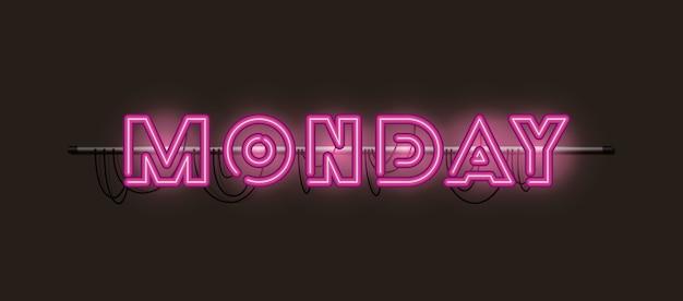 Понедельник шрифты неоновые огни