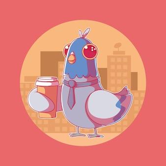Понедельник голубь характер иллюстрации. мотивация, концепция бизнес-дизайна.