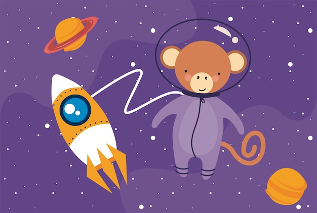 Moneky astronaut in the space