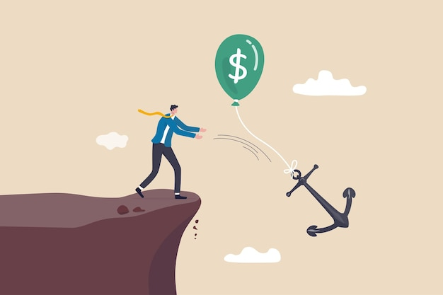 Monetary policy to lower inflation, keep cost or expense low for profit, fed or central bank interest rate control metaphor, businessman government throwing burden anchor tie with money dollar balloon