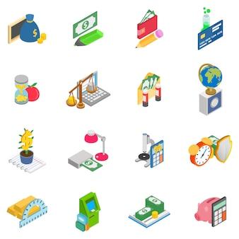 Monetary training icons set, isometric style