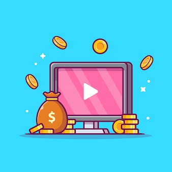 Monetize ads videos cartoon icon illustration.