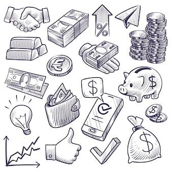 お金と銀行のスケッチイラスト