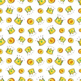 お金と王冠のシームレスなパターン。レトロなコミックスタイルのファッションの背景。図