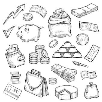 お金と金融のスケッチ。クレジットカード、金の棒、財布、ブリーフケース、ドル袋。コイン、貯金箱、ビジネス投資アイコンベクトルセット。金融および銀行オブジェクトの図