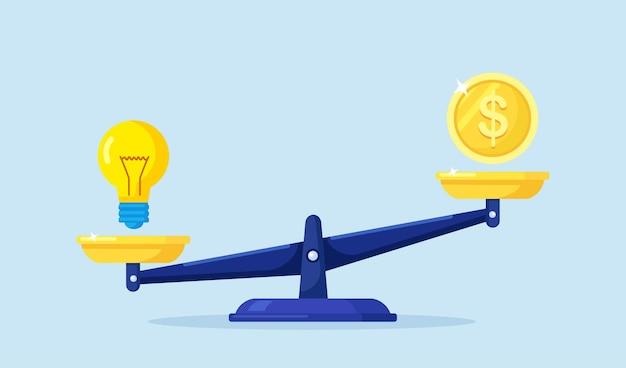 돈과 아이디어 균형. 투자자는 사업 아이디어와 재정을 저울에 비교합니다. 규모에 금화와 전구입니다. 크리에이티브 프로젝트 구매 또는 스타트업 투자