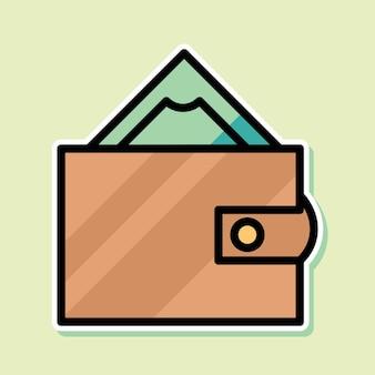 돈과 지갑 만화 디자인