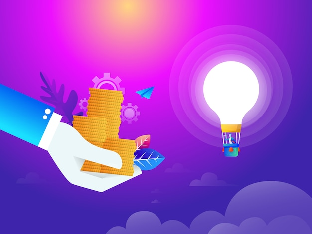 Money attraction for idea flat isometric low poly  concept