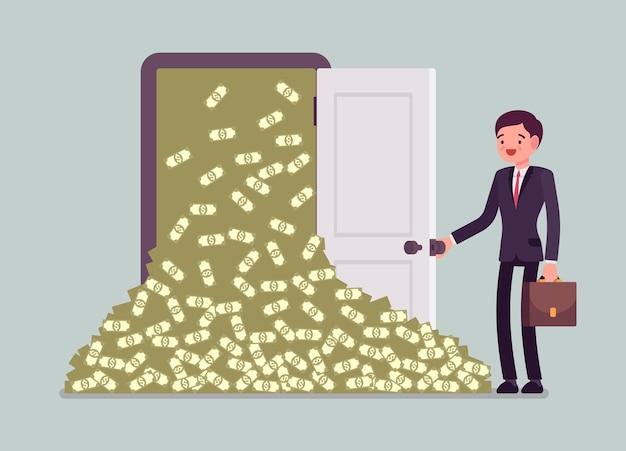 Money avalanche large cash heap and businessman