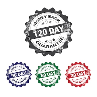 Money back guarantee badges set colorful grunge stamp isolated