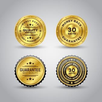 Money back guarantee gold badge template Premium Vector