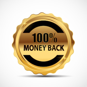 Money back guarantee gold sign, label