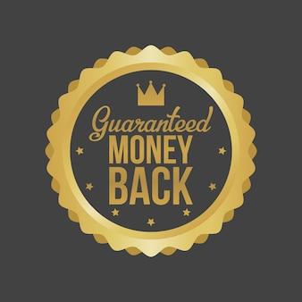 Money back guarantee gold sign, label