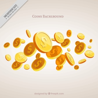 Money background with several golden coins