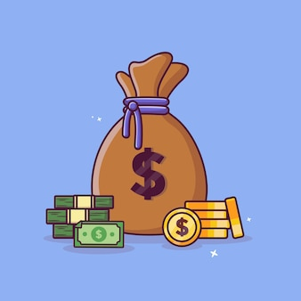 Денежный мешок и наличные монеты с концепцией доллара золотые монеты вектор дизайн иконок